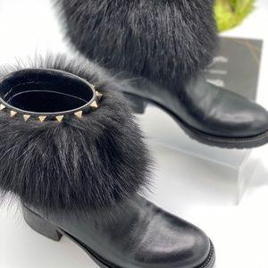 Black Winter Leather Fox Fur Rockstud Ankle Boots